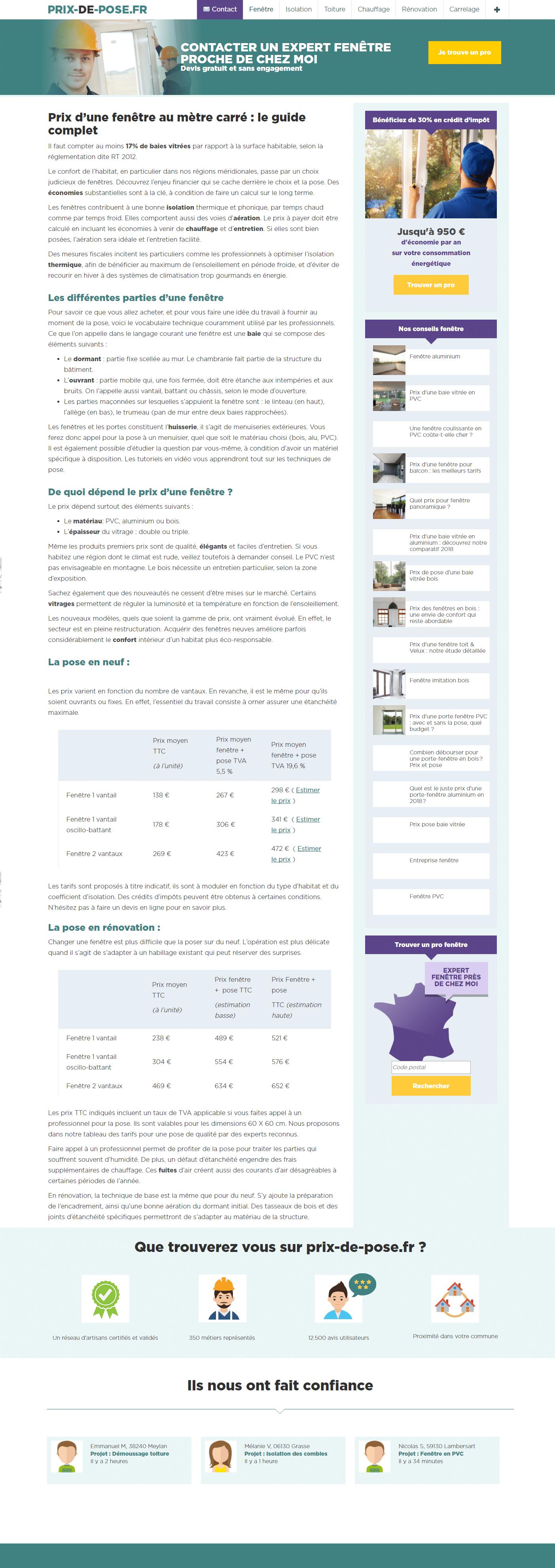 Prixdepose.fr - Webdesigner freelance, 10 années d'expertise
