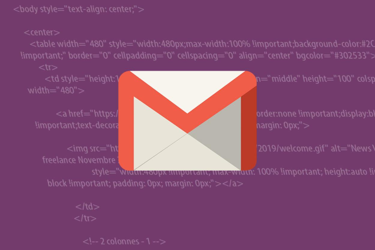 Envoi email graphique avec gmail webdesigner freelance