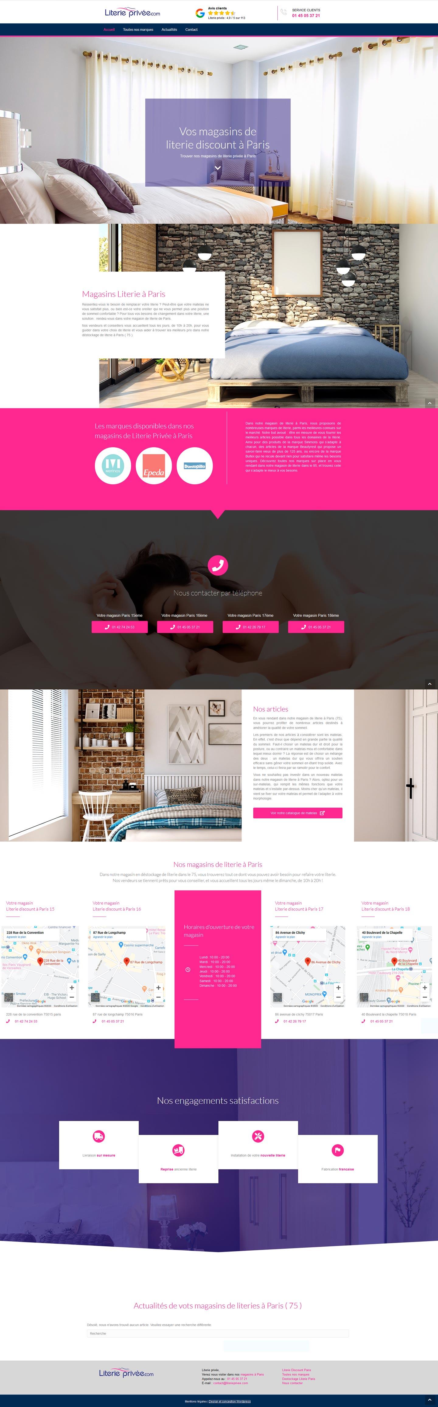 Literie Paris - Mission freelance design Wordress