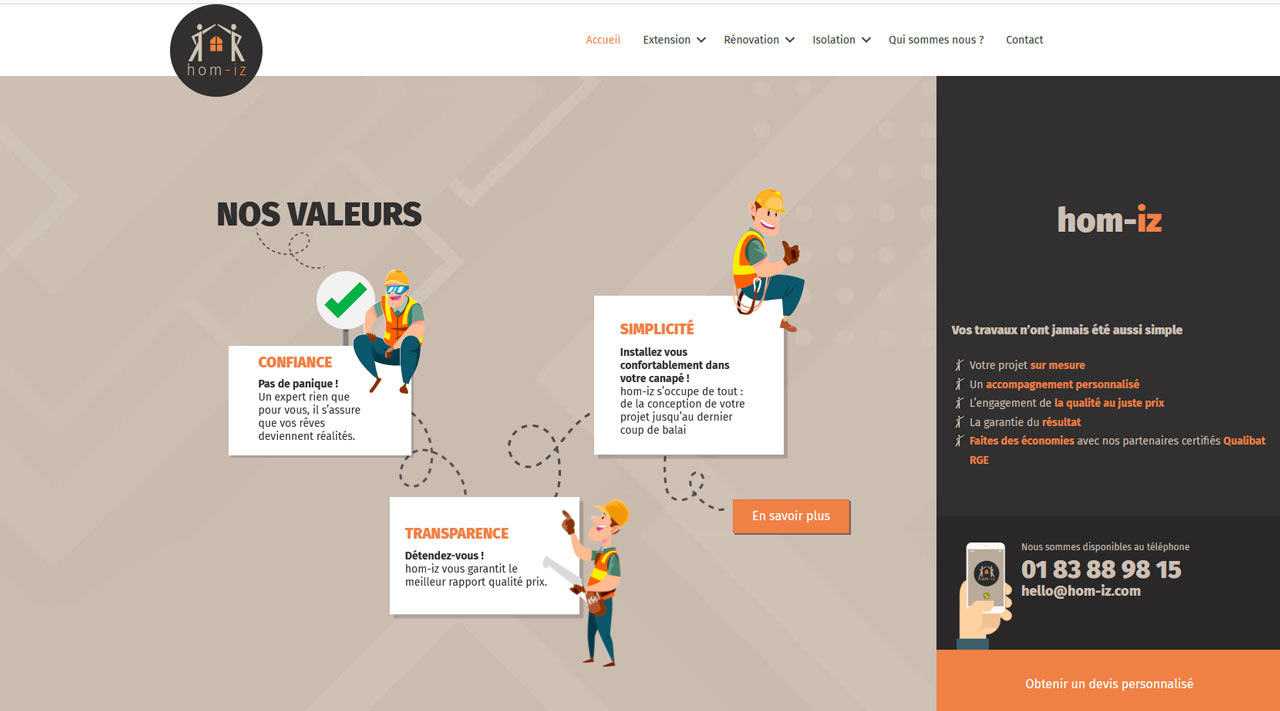 Développement WordPress mission freelance homi-iz