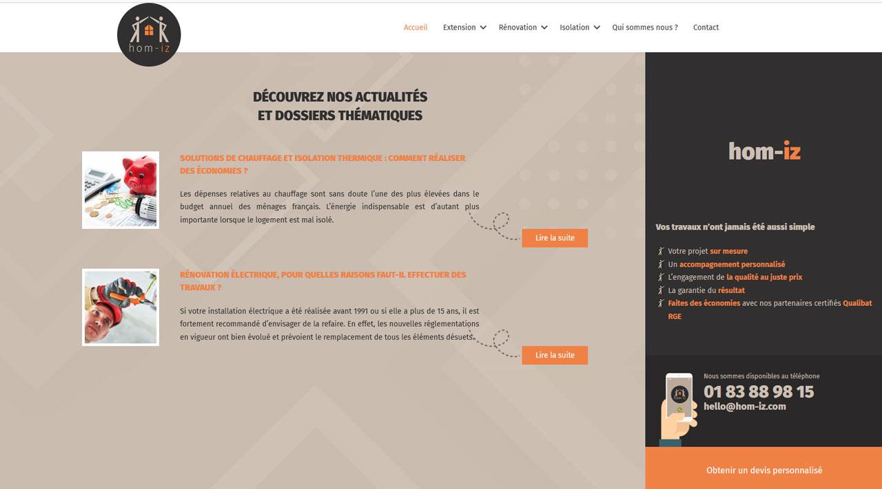 Conception freelance thème WordPress sur mesure hom-iz
